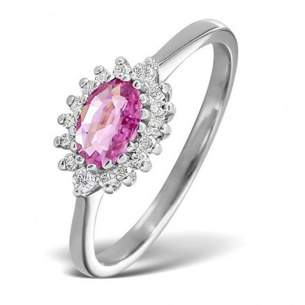 18K White Gold 0.14ct Diamond & 6mm x 4mm Pink Sapphire Ring, DCR09-PSW